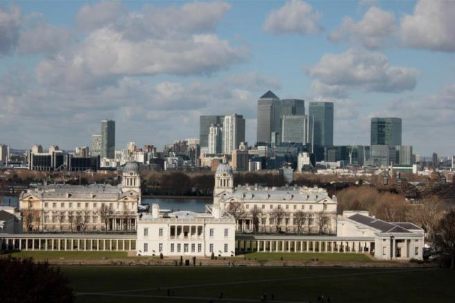 The view of Canary Wharf from Greenwich Park.  (Photo my own)